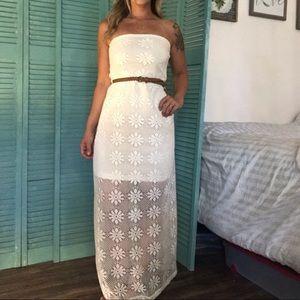 Strapless Off-White Maxi Dress Crochet